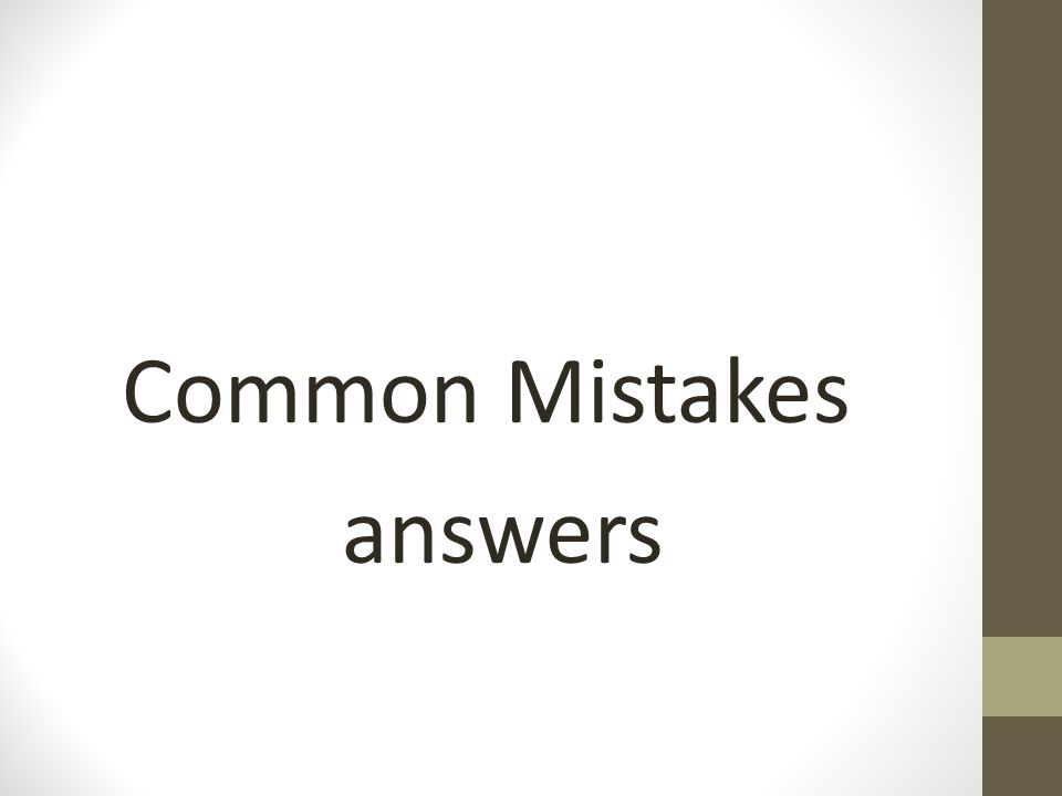 Common Mistakes answers