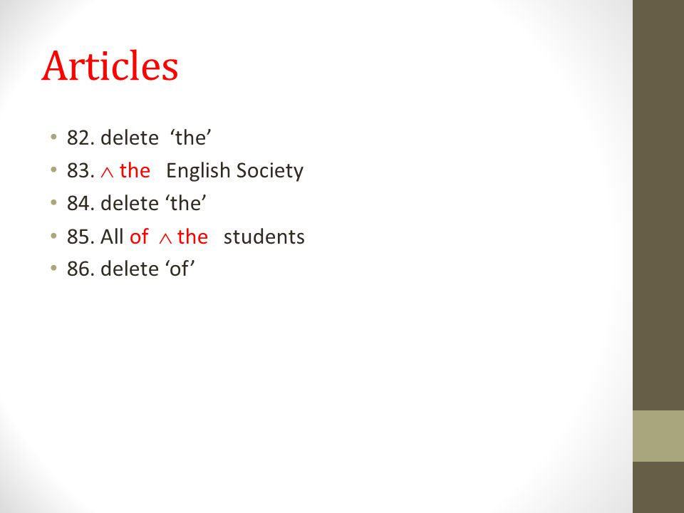 Articles 82. delete 'the' 83.  the English Society 84.