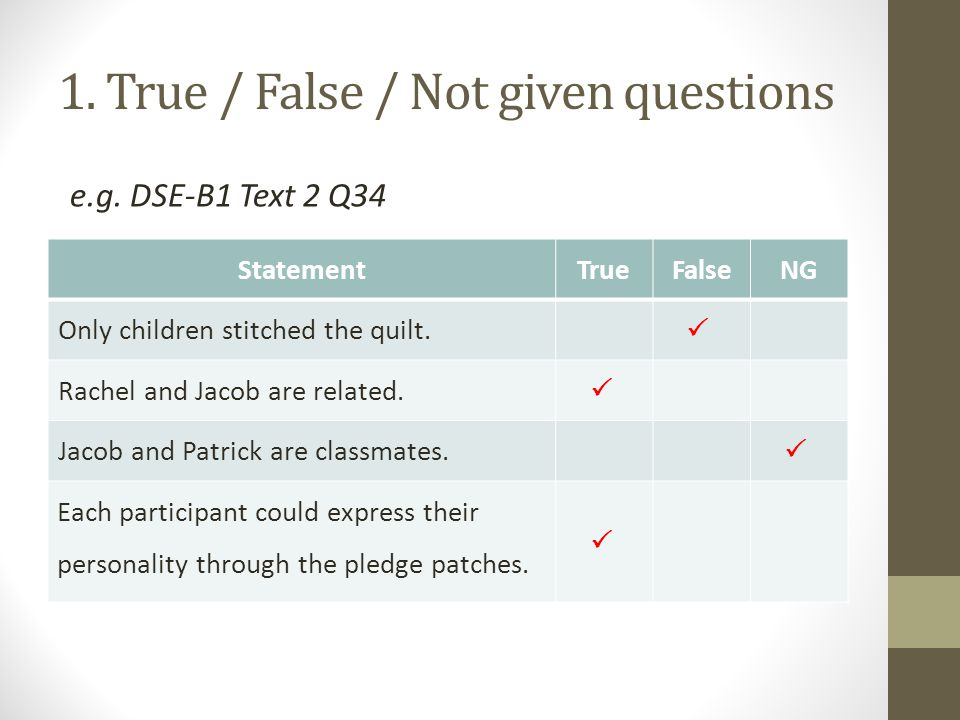 1. True / False / Not given questions StatementTrueFalseNG Only children stitched the quilt.