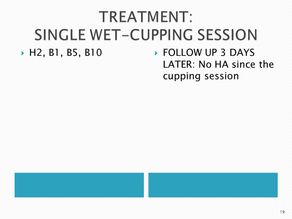  H2, B1, B5, B10  FOLLOW UP 3 DAYS LATER: No HA since the cupping session 19