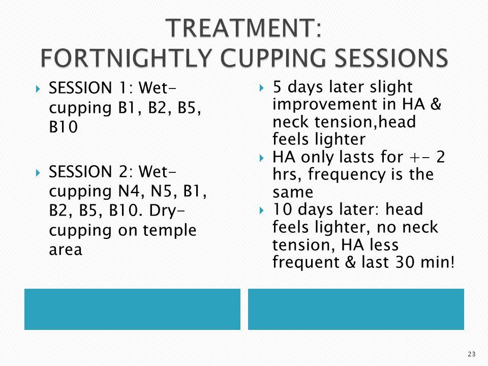  SESSION 1: Wet- cupping B1, B2, B5, B10  SESSION 2: Wet- cupping N4, N5, B1, B2, B5, B10. Dry- cupping on temple area  5 days later slight improve