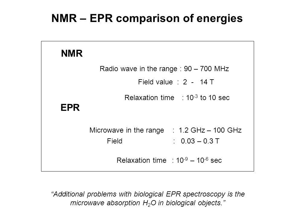 "NMR EPR Microwave in the range : 1.2 GHz – 100 GHz Field : 0.03 – 0.3 T Radio wave in the range : 90 – 700 MHz Field value : 2 - 14 T ""Additional prob"