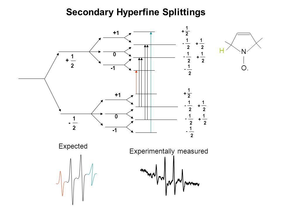 N O. H Expected Experimentally measured Secondary Hyperfine Splittings - 1 2 +1 0 + 1 2 +1 0 - 1 2 - 1 2 + 1 2 + 1 2 - 1 2 + 1 2 - 1 2 - 1 2 + 1 2 + 1