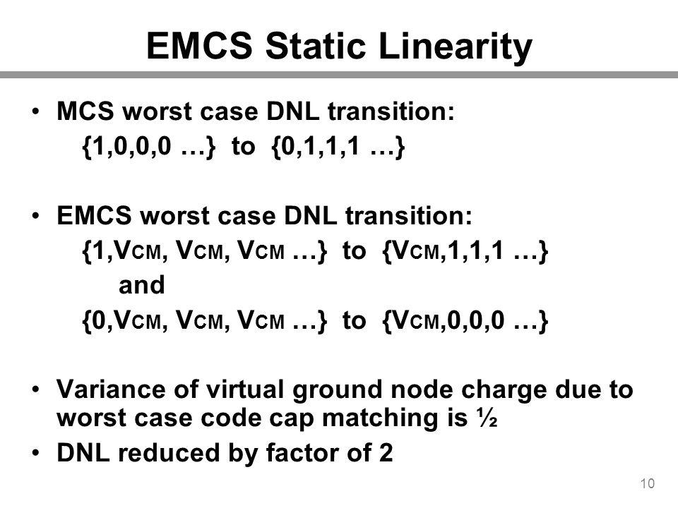 EMCS Static Linearity MCS worst case DNL transition: {1,0,0,0 …} to {0,1,1,1 …} EMCS worst case DNL transition: {1,V CM, V CM, V CM …} to {V CM,1,1,1