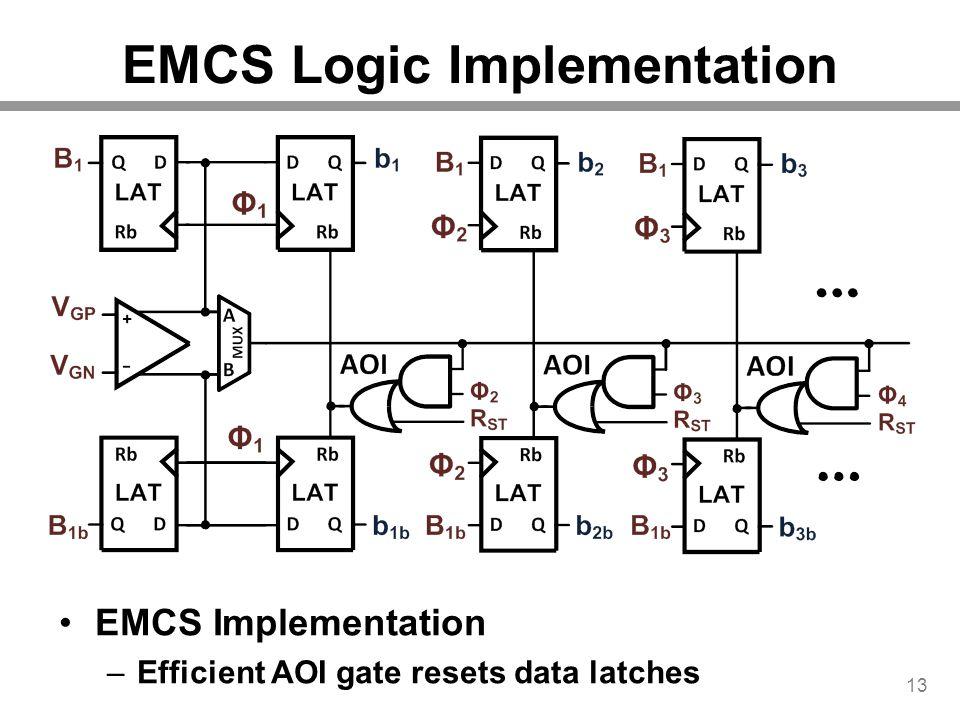 EMCS Logic Implementation 13 EMCS Implementation –Efficient AOI gate resets data latches