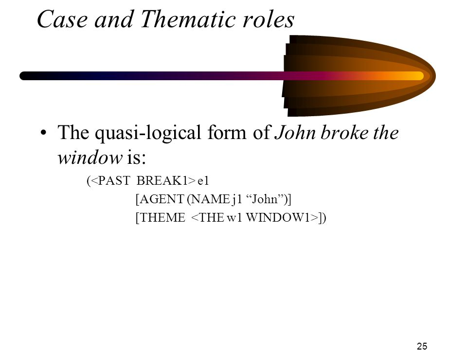 25 Case and Thematic roles The quasi-logical form of John broke the window is: ( e1 [AGENT (NAME j1 John )] [THEME ])