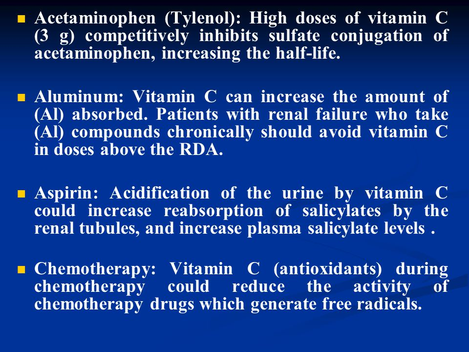 Acetaminophen (Tylenol): High doses of vitamin C (3 g) competitively inhibits sulfate conjugation of acetaminophen, increasing the half-life. Aluminum