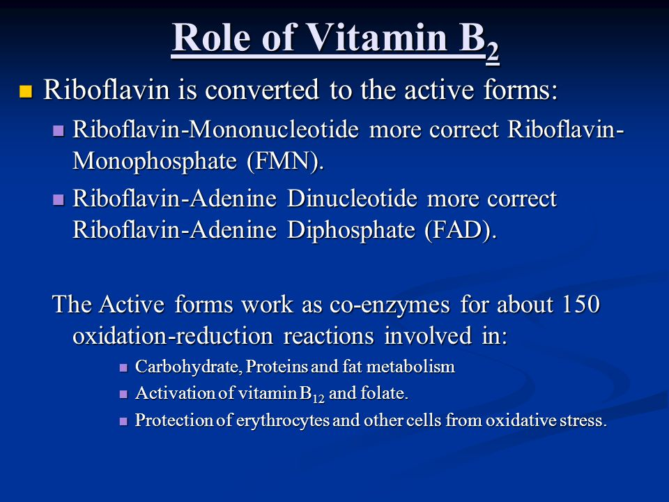 Role of Vitamin B 2 Riboflavin is converted to the active forms: Riboflavin is converted to the active forms: Riboflavin-Mononucleotide more correct R