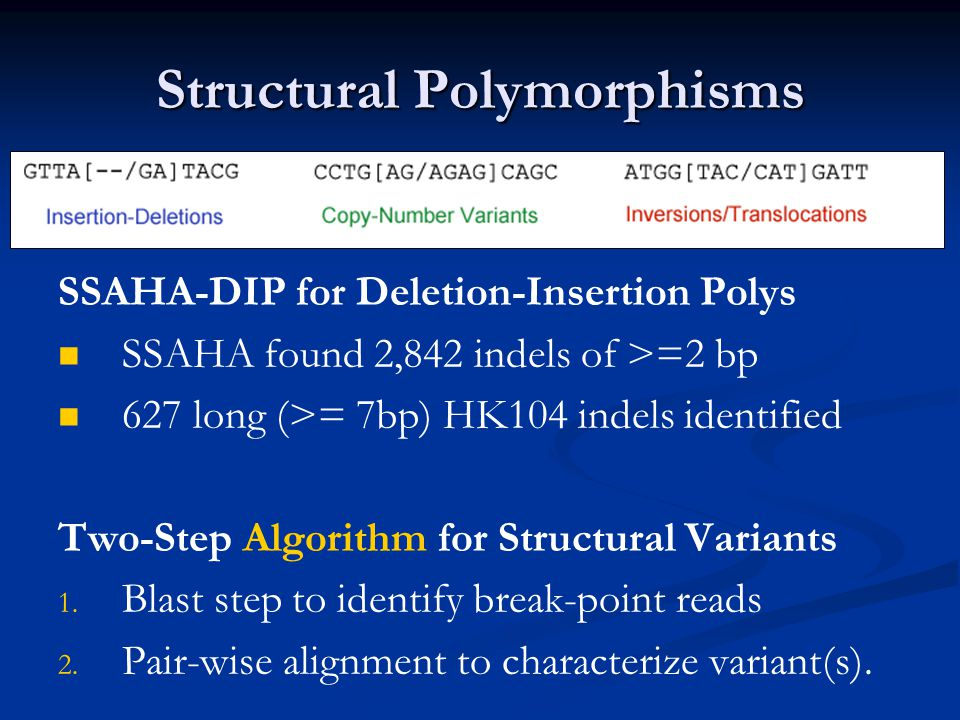 Structural Polymorphisms SSAHA-DIP for Deletion-Insertion Polys SSAHA found 2,842 indels of >=2 bp 627 long (>= 7bp) HK104 indels identified Two-Step Algorithm for Structural Variants 1.
