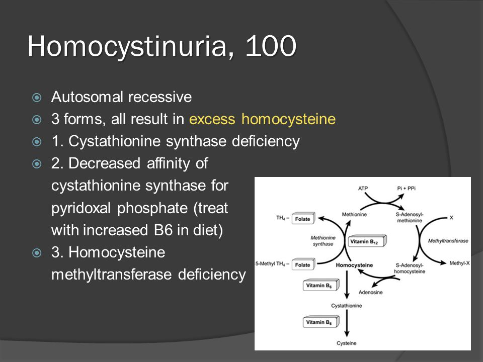 Homocystinuria, 100  Autosomal recessive  3 forms, all result in excess homocysteine  1.
