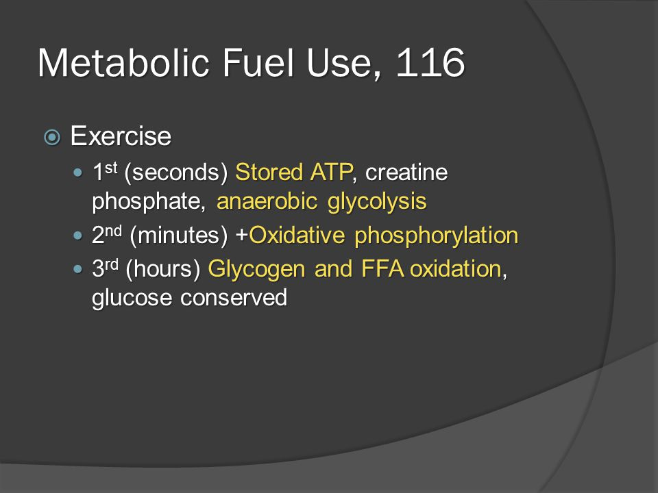 Metabolic Fuel Use, 116  Fasting and starvation Preserve glucose for brain and RBC's Preserve glucose for brain and RBC's Days 1-3 Days 1-3 ○ Hepatic glycogenolysis and glucose release ○ Adipose release of free fatty acids, used by muscle and liver (in place of glucose) ○ Hepatic gluconeogenesis from peripheral lactate and alanine, adipose tissue