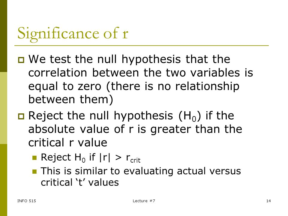 INFO 515Lecture #714 Significance of r  We test the null hypothesis that the correlation between the two variables is equal to zero (there is no rela