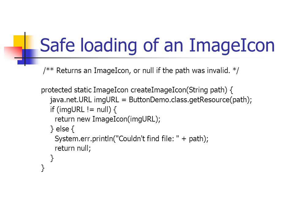 Safe loading of an ImageIcon /** Returns an ImageIcon, or null if the path was invalid.
