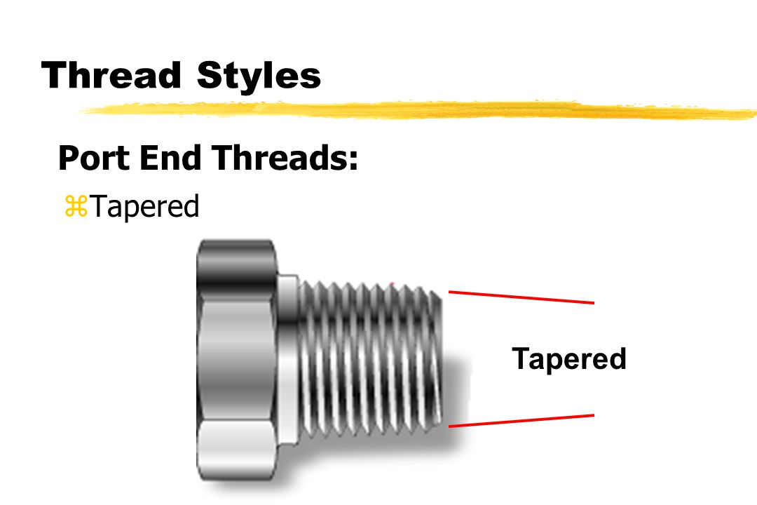 Thread Styles zTapered Port End Threads: Tapered