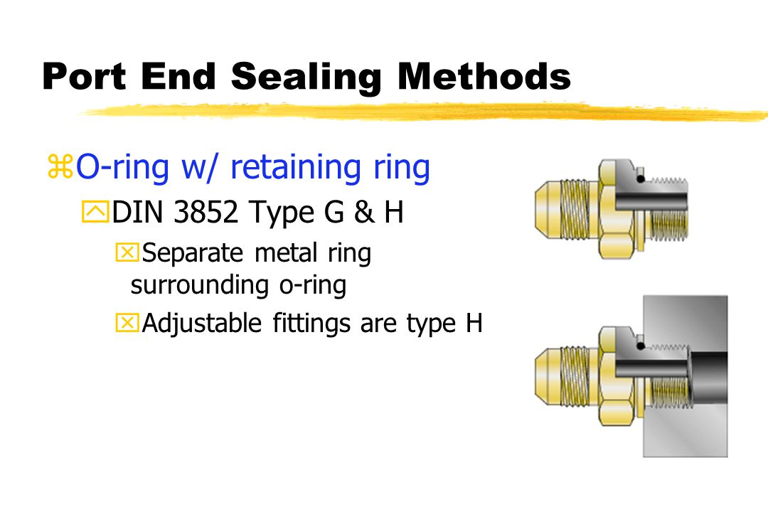 Port End Sealing Methods zO-ring w/ retaining ring yDIN 3852 Type G & H xSeparate metal ring surrounding o-ring xAdjustable fittings are type H