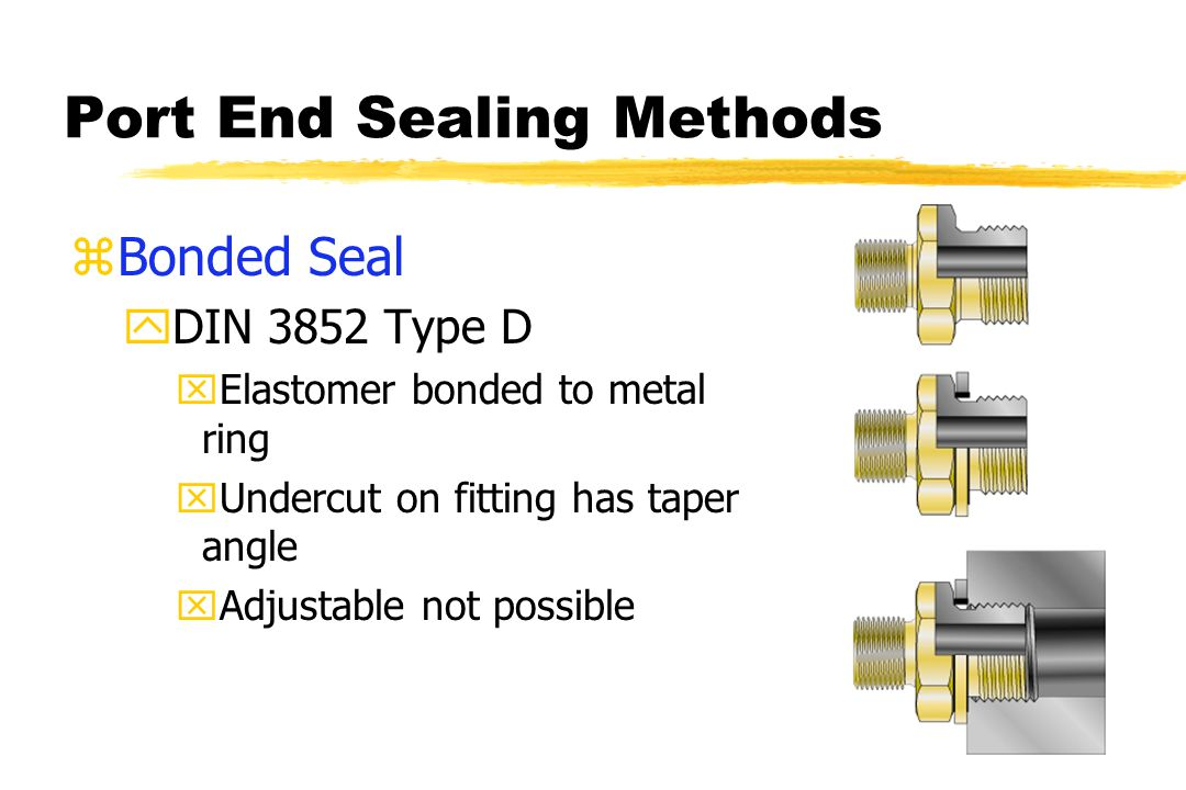 Port End Sealing Methods zBonded Seal yDIN 3852 Type D xElastomer bonded to metal ring xUndercut on fitting has taper angle xAdjustable not possible