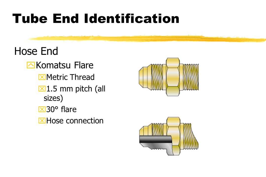 Tube End Identification Hose End yKomatsu Flare xMetric Thread x1.5 mm pitch (all sizes) x30° flare xHose connection