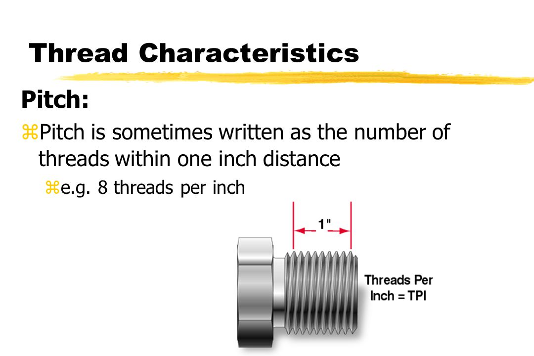Thread Characteristics Pitch: zPitch is sometimes written as the number of threads within one inch distance ze.g.
