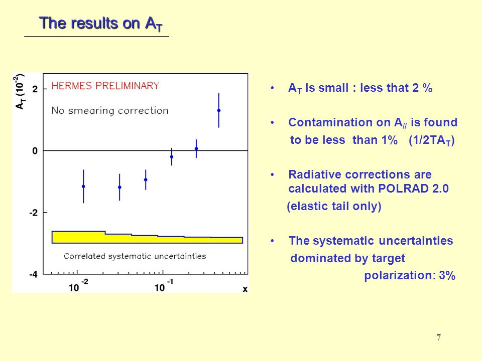 7 The results on A T A T is small : less that 2 % Contamination on A // is found to be less than 1% (1/2TA T ) Radiative corrections are calculated with POLRAD 2.0 (elastic tail only) The systematic uncertainties dominated by target polarization: 3%