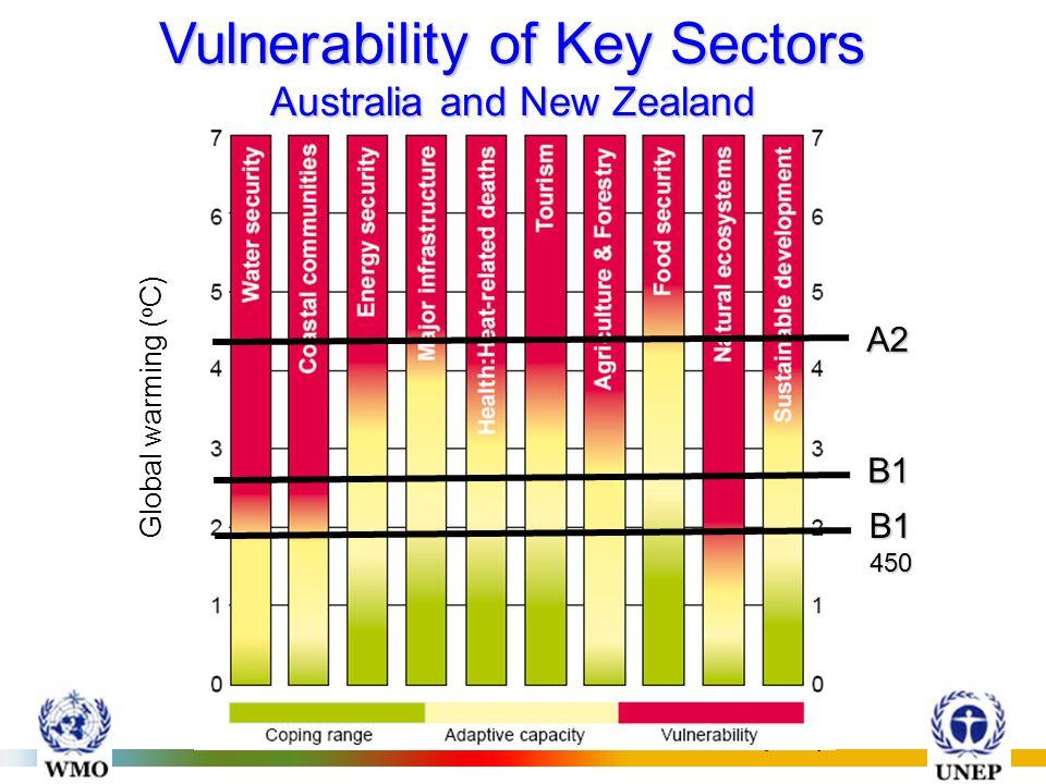 INTERGOVERNMENTAL PANEL ON CLIMATE CHANGE (IPCC) Global warming ( o C) A2 B1 B1 450 Vulnerability of Key Sectors Australia and New Zealand