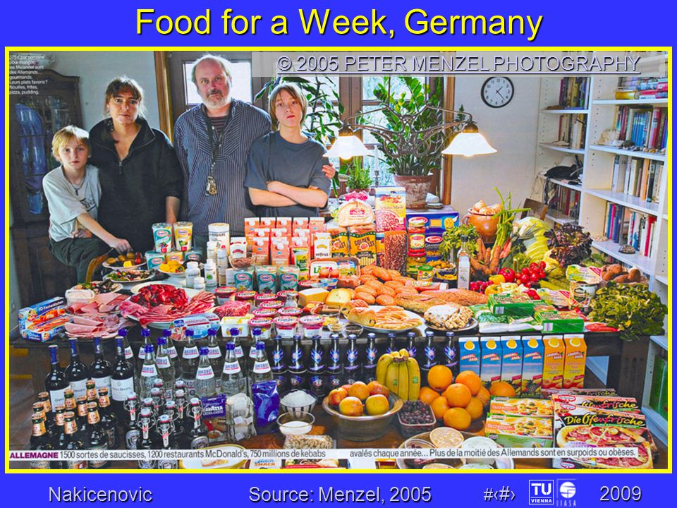 Nakicenovic # 6 2009 Food for a Week, Germany © 2005 PETER MENZEL PHOTOGRAPHY © 2005 PETER MENZEL PHOTOGRAPHY Source: Menzel, 2005