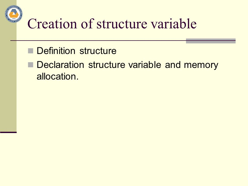 Example : Structure and pointer struct book b1 = { Let us C , YPK , 101 } ; struct book *ptr ; ptr = &b1 ; printf ( \n%s %s %d , b1.name, b1.author, b1.callno ) ; printf ( \n%s %s %d , ptr->name, ptr- >author, ptr->callno ) ; Void main () { struct book { char name[25] ; char author[25] ; int callno ; } ;