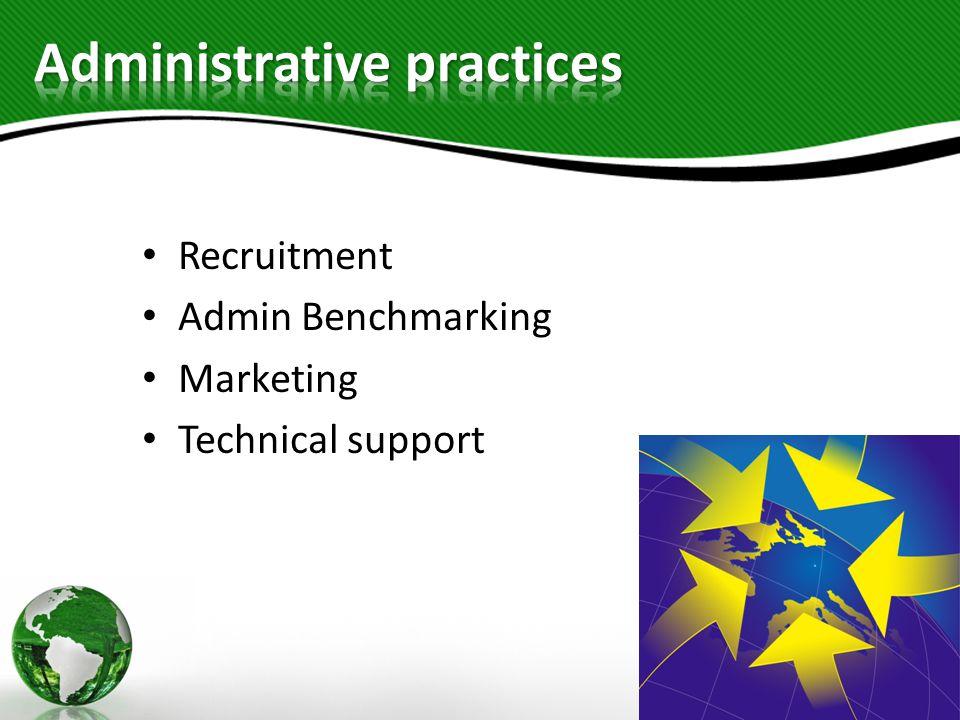 Recruitment Admin Benchmarking Marketing Technical support