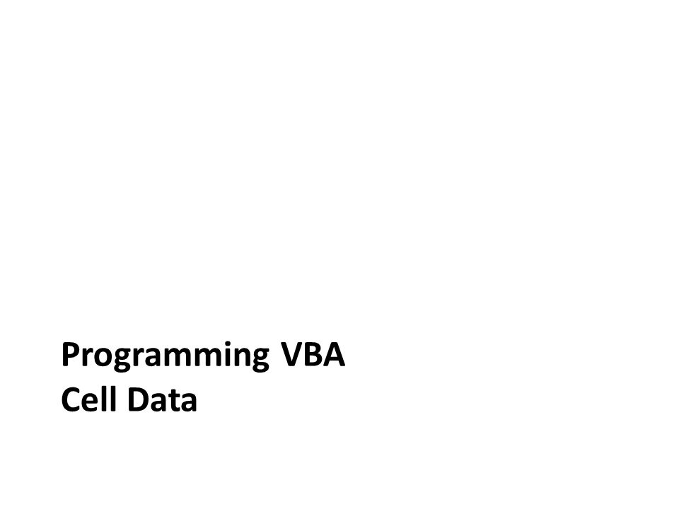 Programming VBA Cell Data