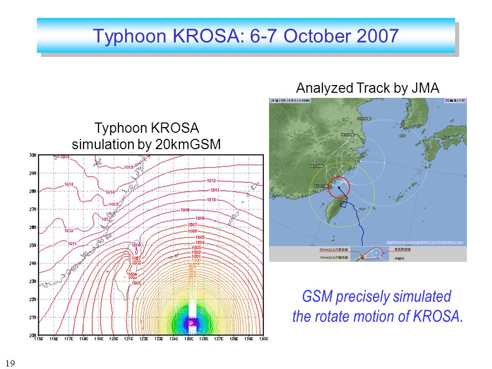 19 Typhoon KROSA: 6-7 October 2007 Typhoon KROSA simulation by 20kmGSM Analyzed Track by JMA GSM precisely simulated the rotate motion of KROSA.