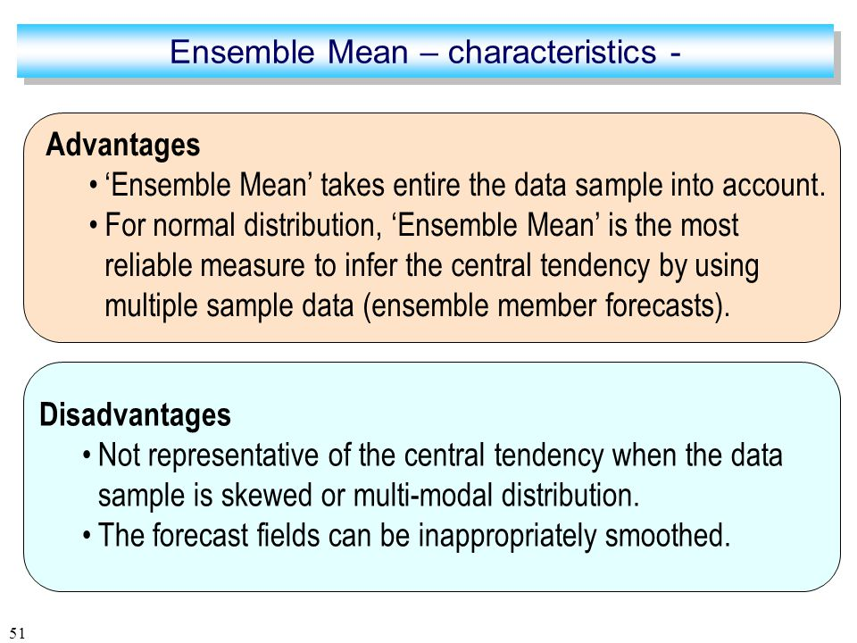 51 Advantages 'Ensemble Mean' takes entire the data sample into account.