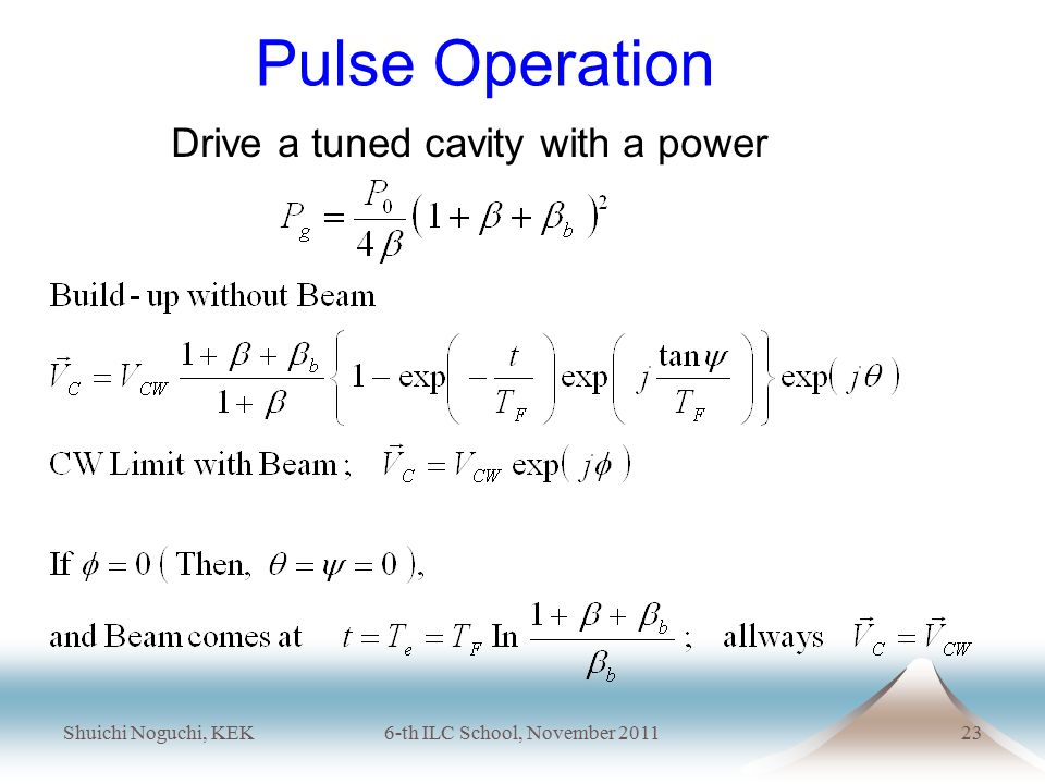 Shuichi Noguchi, KEK6-th ILC School, November 201123 Pulse Operation Drive a tuned cavity with a power
