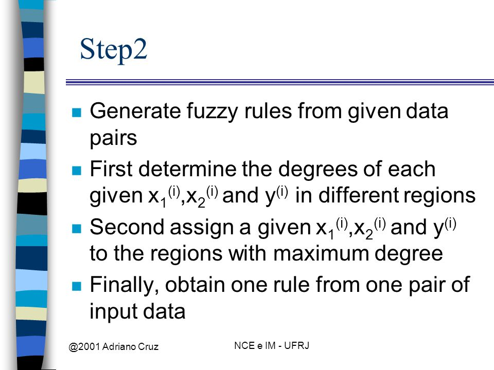 @2001 Adriano Cruz NCE e IM - UFRJ Step2 n Generate fuzzy rules from given data pairs n First determine the degrees of each given x 1 (i),x 2 (i) and y (i) in different regions n Second assign a given x 1 (i),x 2 (i) and y (i) to the regions with maximum degree n Finally, obtain one rule from one pair of input data