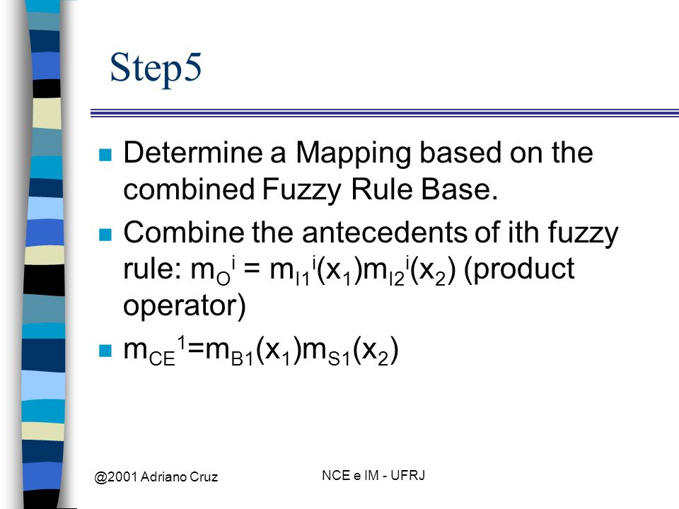 @2001 Adriano Cruz NCE e IM - UFRJ Step5 n Determine a Mapping based on the combined Fuzzy Rule Base.