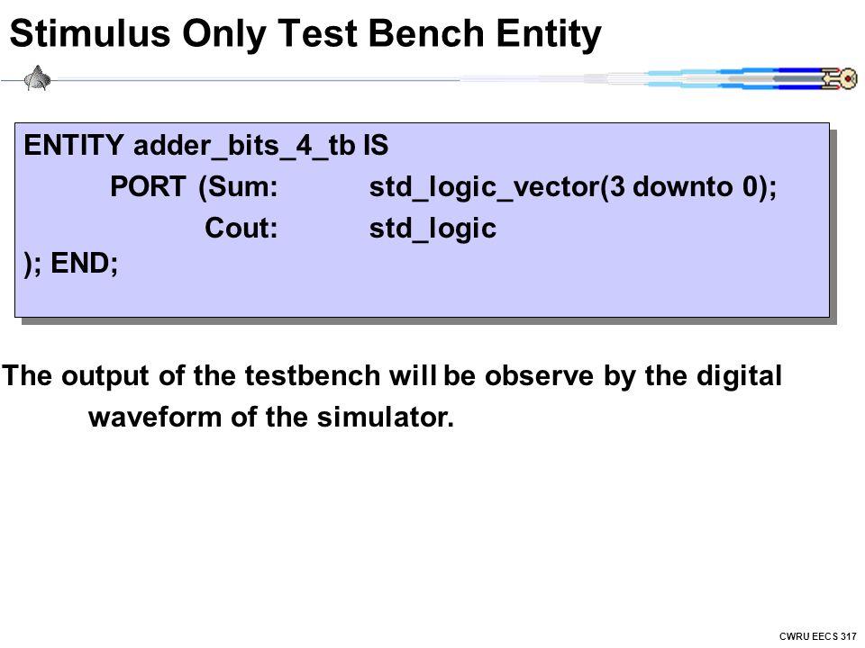CWRU EECS 317 Stimulus Only Test Bench Entity ENTITY adder_bits_4_tb IS PORT (Sum:std_logic_vector(3 downto 0); Cout:std_logic ); END; ENTITY adder_bi