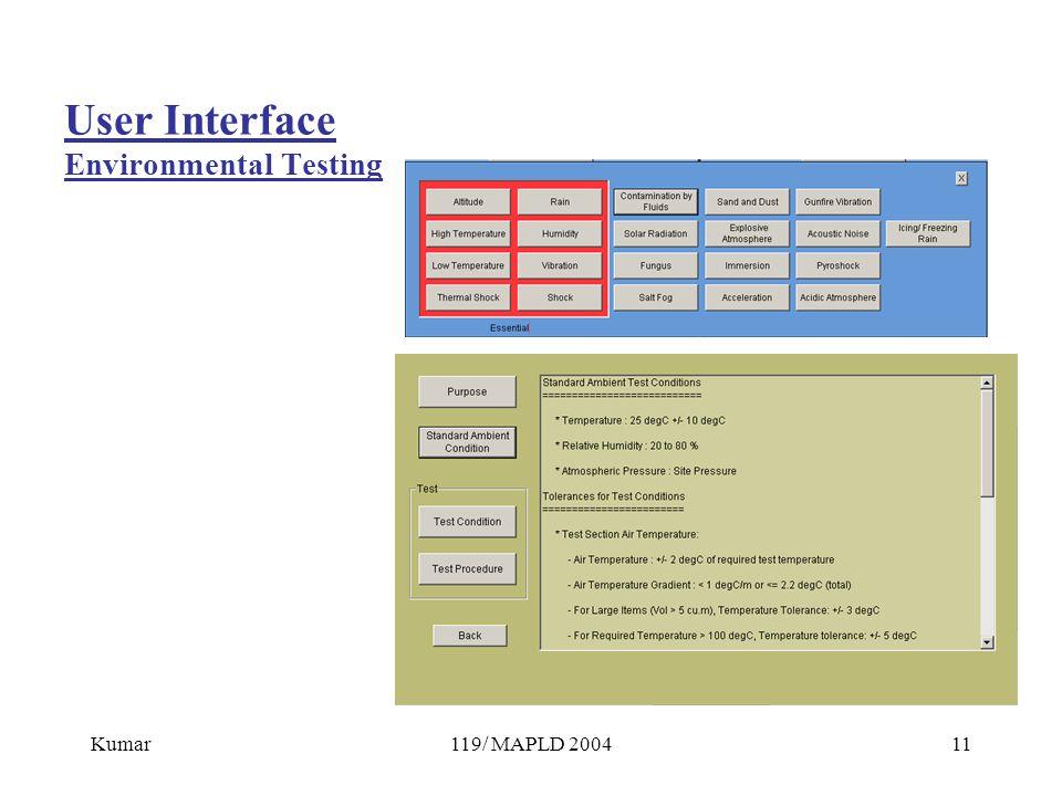 Kumar119/ MAPLD 200411 User Interface Environmental Testing