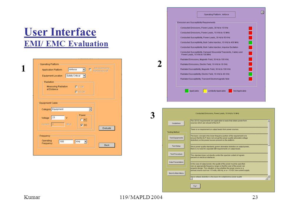 Kumar119/ MAPLD 200423 User Interface EMI/ EMC Evaluation 1 2 3