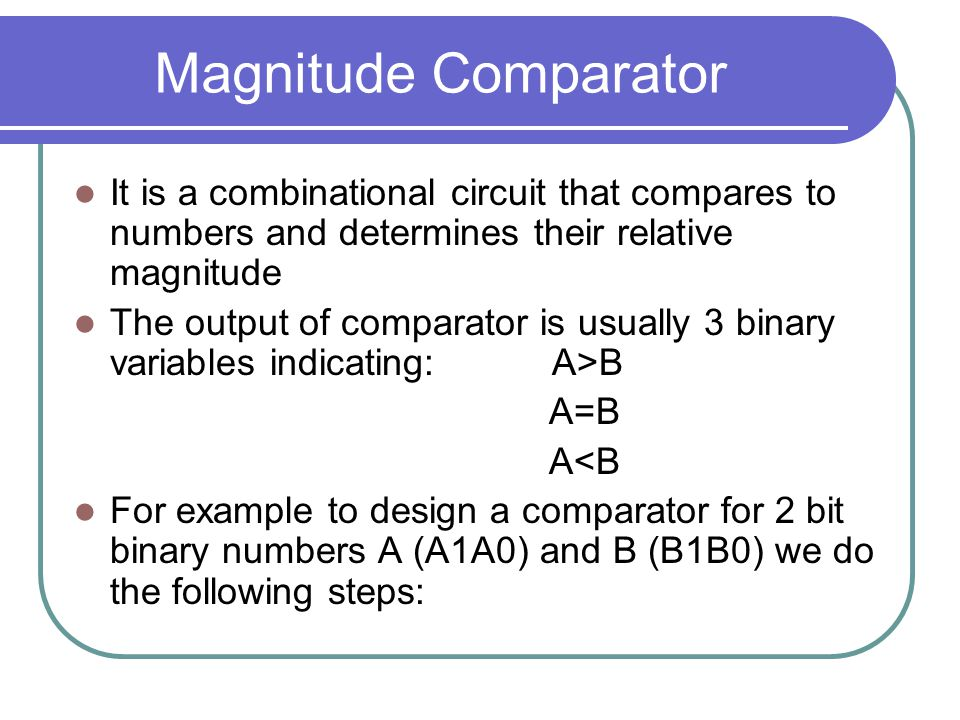 Magnitude Comparator It is a combinational circuit that compares to numbers and determines their relative magnitude The output of comparator is usually 3 binary variables indicating: A>B A=B A<B For example to design a comparator for 2 bit binary numbers A (A1A0) and B (B1B0) we do the following steps: