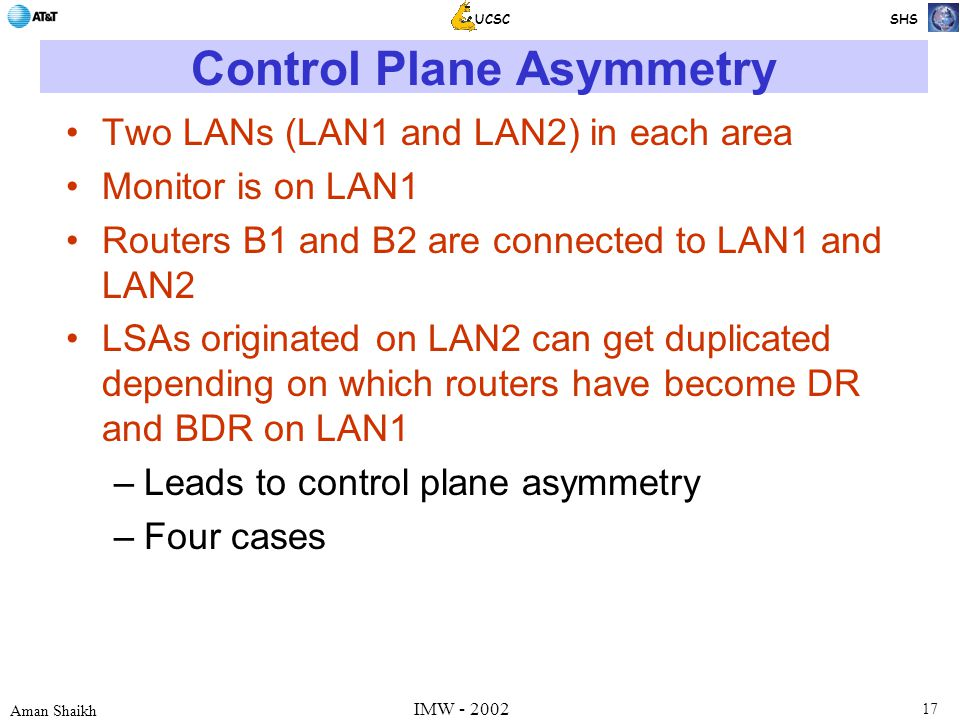 17 Aman Shaikh UCSC SHS IMW - 2002 Control Plane Asymmetry Two LANs (LAN1 and LAN2) in each area Monitor is on LAN1 Routers B1 and B2 are connected to LAN1 and LAN2 LSAs originated on LAN2 can get duplicated depending on which routers have become DR and BDR on LAN1 –Leads to control plane asymmetry –Four cases