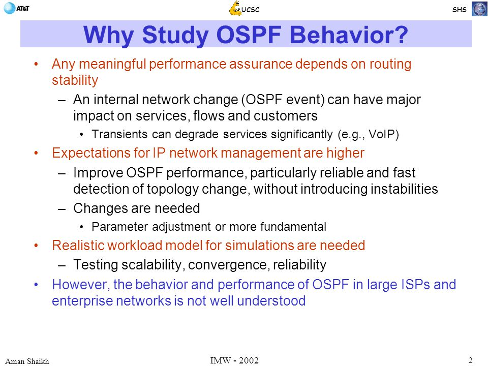 2 Aman Shaikh UCSC SHS IMW - 2002 Why Study OSPF Behavior.