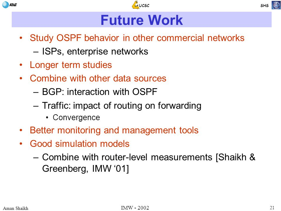21 Aman Shaikh UCSC SHS IMW - 2002 Future Work Study OSPF behavior in other commercial networks –ISPs, enterprise networks Longer term studies Combine with other data sources –BGP: interaction with OSPF –Traffic: impact of routing on forwarding Convergence Better monitoring and management tools Good simulation models –Combine with router-level measurements [Shaikh & Greenberg, IMW '01]