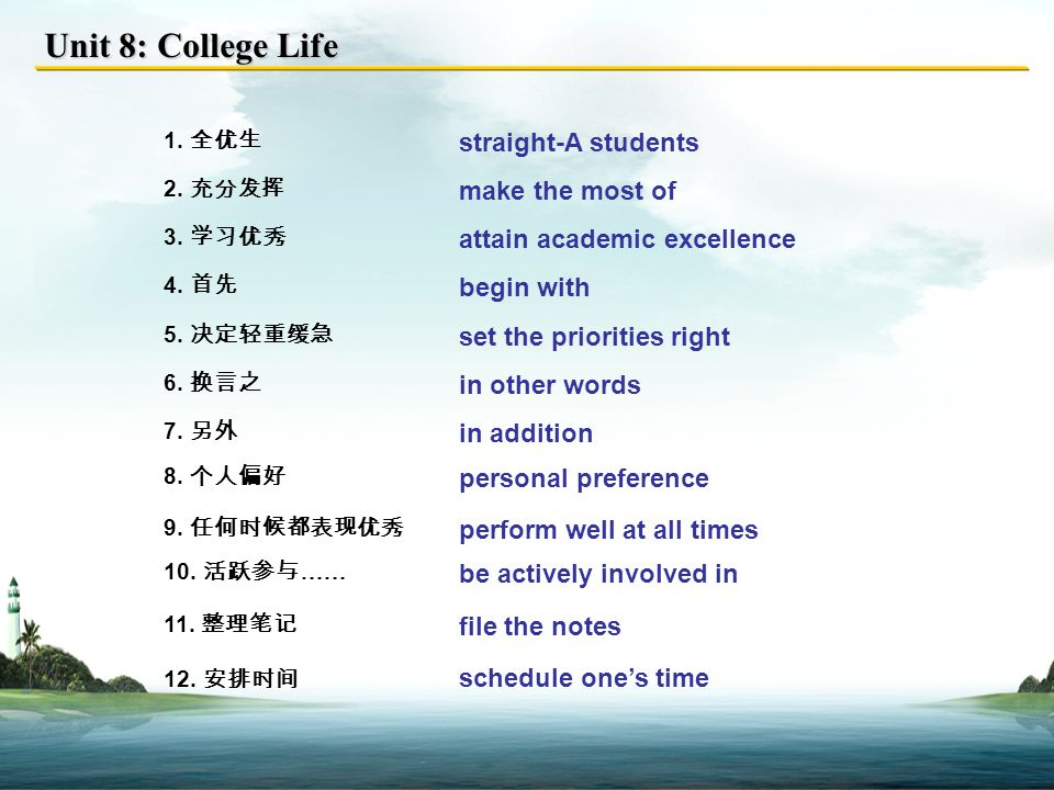 Unit 8: College Life Useful Expressions Proverbs and Quotations