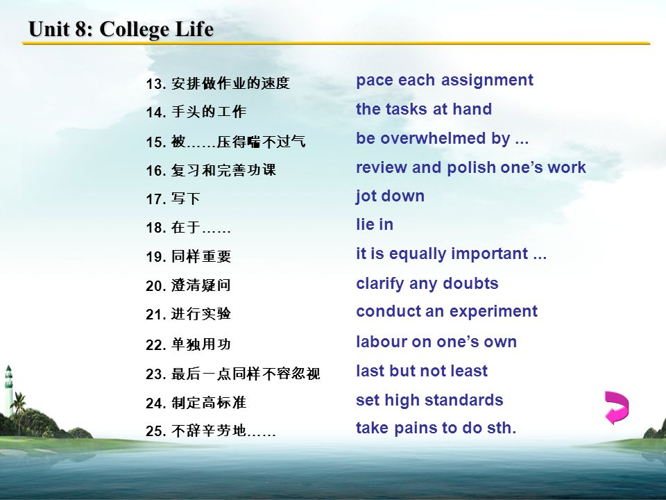Unit 8: College Life 1. 全优生 straight-A students 2.