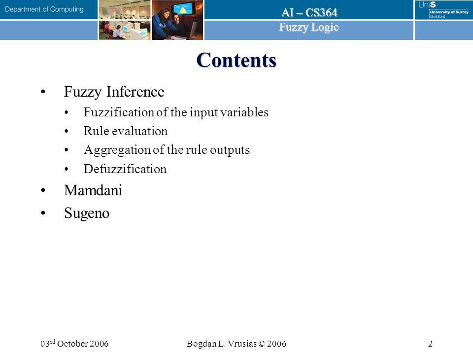 AI – CS364 Fuzzy Logic 03 rd October 2006Bogdan L. Vrusias © 200623 Sugeno Rule Evaluation
