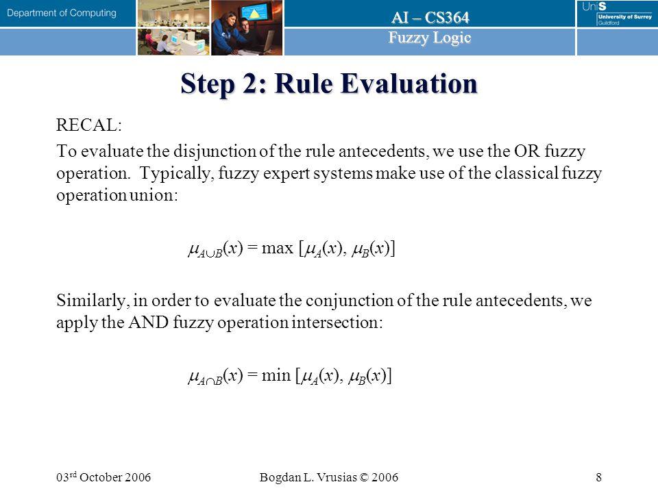 AI – CS364 Fuzzy Logic 03 rd October 2006Bogdan L. Vrusias © 20069 Step 2: Rule Evaluation
