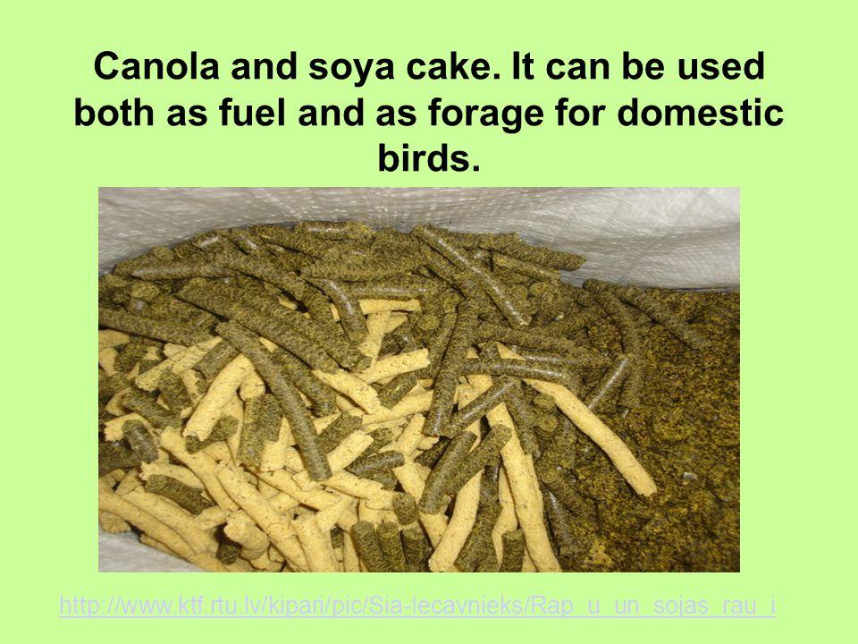 Canola and soya cake. It can be used both as fuel and as forage for domestic birds. http://www.ktf.rtu.lv/kipari/pic/Sia-Iecavnieks/Rap_u_un_sojas_rau