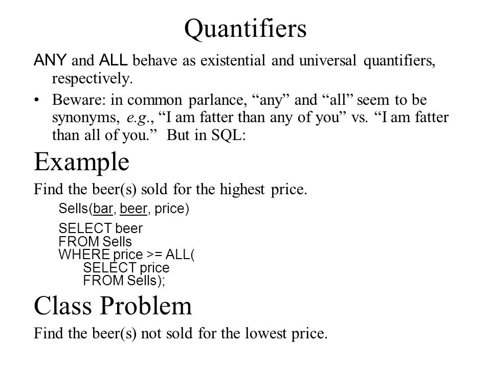 "Quantifiers ANY and ALL behave as existential and universal quantifiers, respectively. Beware: in common parlance, ""any"" and ""all"" seem to be synonyms"