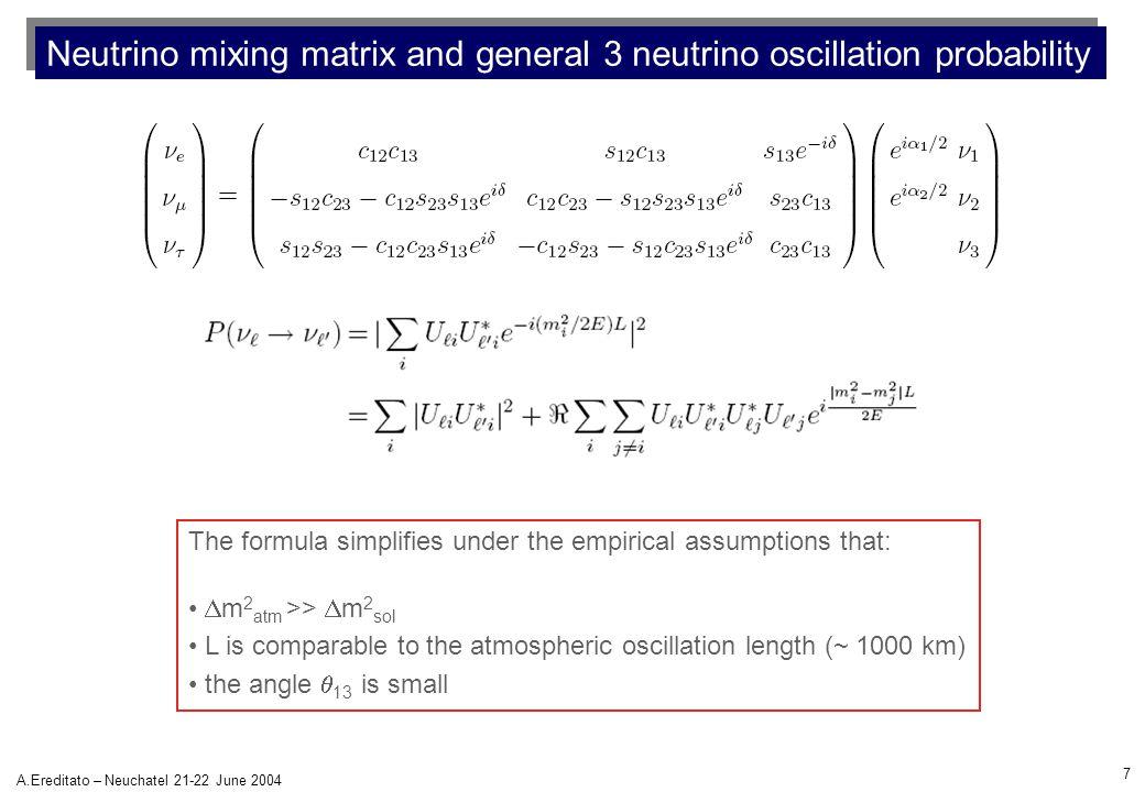 7 A.Ereditato – Neuchatel 21-22 June 2004 Neutrino mixing matrix and general 3 neutrino oscillation probability The formula simplifies under the empir