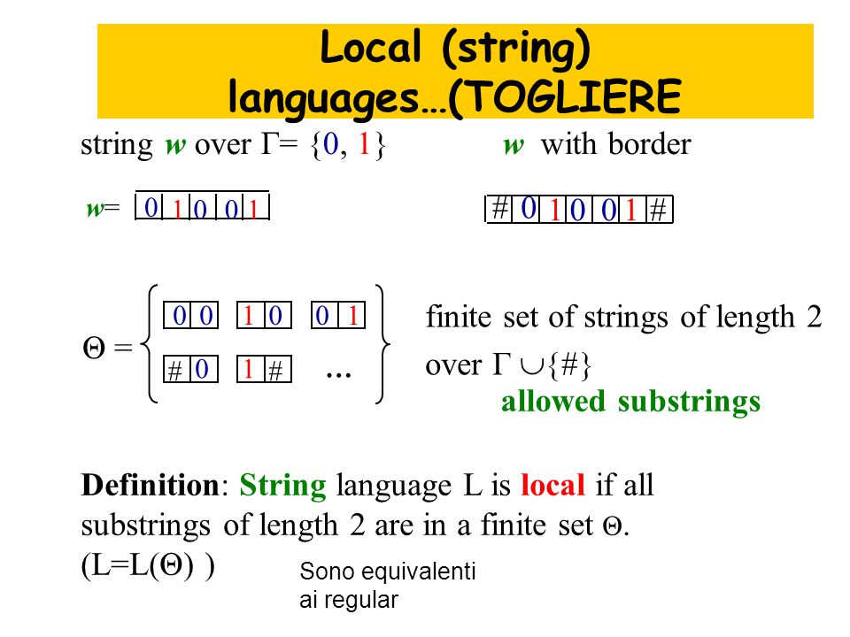 Definition: String language L is local if all substrings of length 2 are in a finite set Θ.
