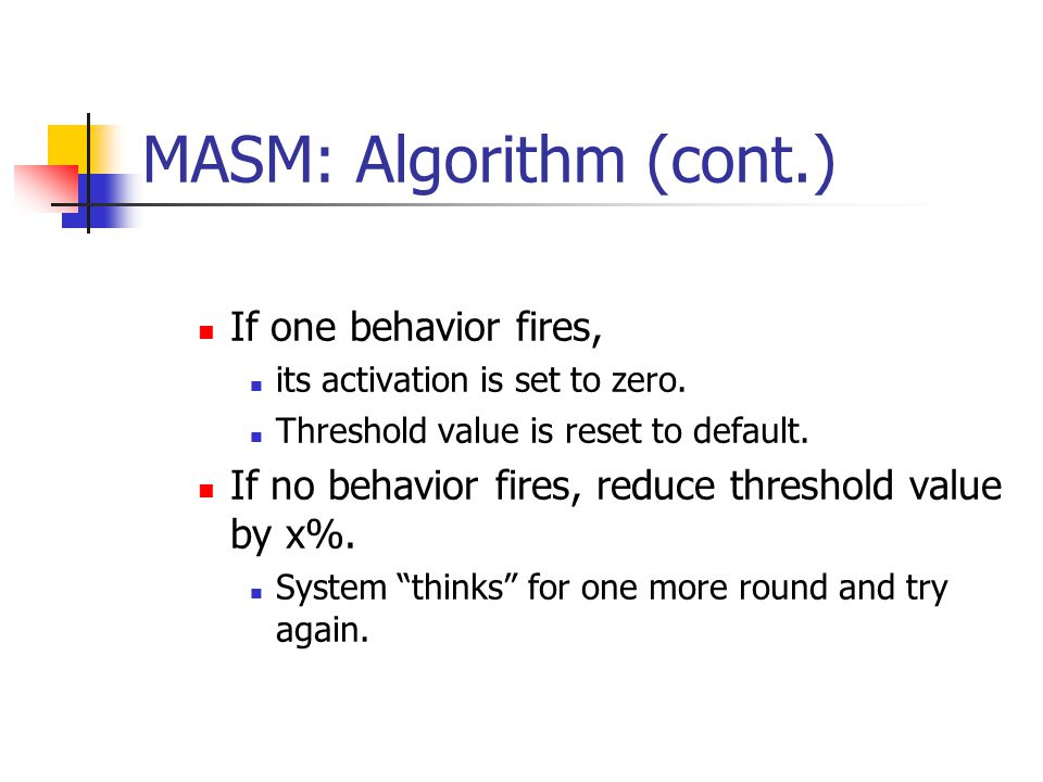 MASM: Algorithm (cont.) If one behavior fires, its activation is set to zero.