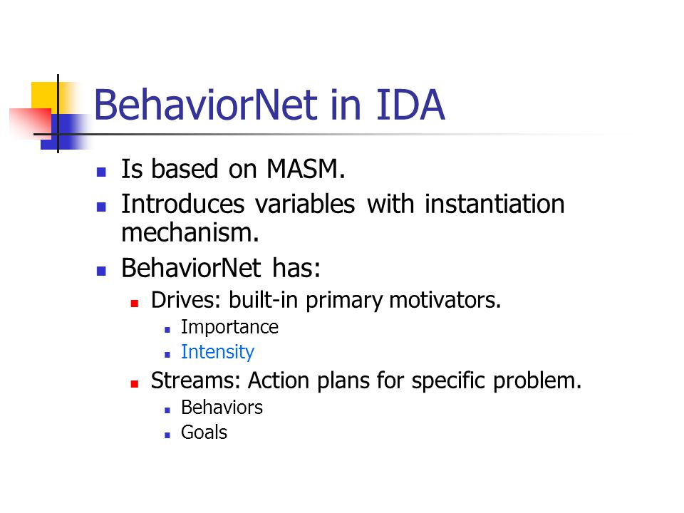 BehaviorNet in IDA Is based on MASM. Introduces variables with instantiation mechanism.